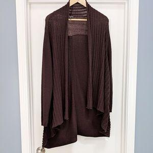 Eileen Fisher brown wool open front long cardigan